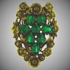 Vintage floral Dress Clip with emerald green rhinestones and marcasites