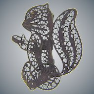 Marked 925 silver figural filigree squirrel Brooch