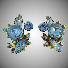 Vintage clip back 1960's earrings with blue rhinestones