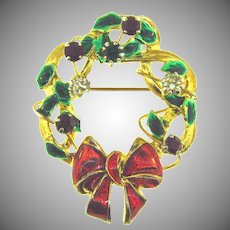 Vintage Christmas Wreath Brooch with raised red,green and crystal rhinestones