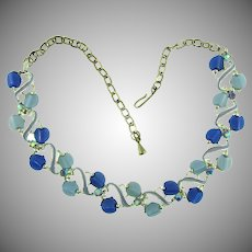 Vintage 1960's choker Necklace with blue thermoset pieces, blue AB rhinestones and blue enamel