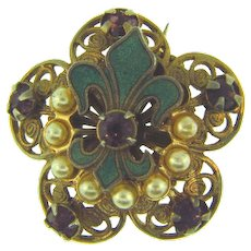 Vintage Scatter Pin with enamel fleur de lis, imitation pearls and purple rhinestones