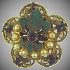 Vintage Scatter Pin with enamel fleur de lis, imitation pearls and purple rhinestones