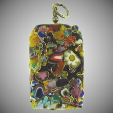 Vintage end of day colorful millefiore rectangular Pendant