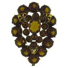 Marked Czechoslovakia  rhinestone Brooch with brown tones