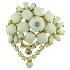 Vintage abstract rhinestone 1960's Brooch with AB and white stones