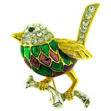 Vintage figural smaller gold tone bird on branch Brooch