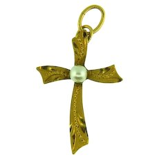 Vintage 1/20 14kt gold filled small Cross Pendant/charm with genuine pearl