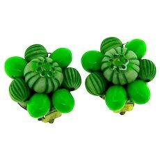 Vintage Hong Kong early plastic green clip back Earrings