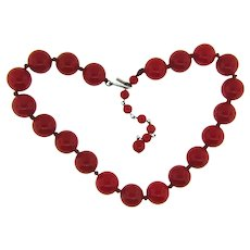 Marked Japan early plastic choker length red bead Necklace