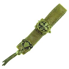 Signed Pamar adjustable mesh Victorian Revival style Bracelet with shield and tassel