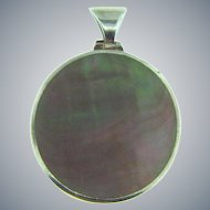 Vintage stamped 925 sterling silver Pendant with MOP shell piece