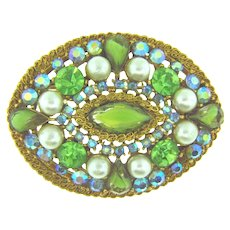 Signed ART vintage rhinestone Brooch with green, AB and imitation pearls