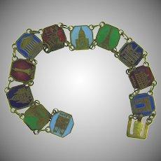 Stamped Made in France Paris souvenir enamel link Bracelet