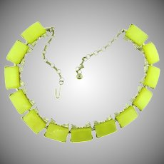 Vintage stamped Japan yellow thermoset link choker length Necklace