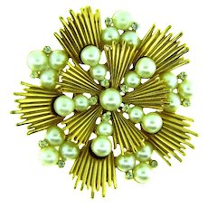 Signed Crown Trifari gold tone Brooch with imitation white pearls and tiny crystal rhinestones
