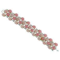 Vintage silver tone link Bracelet with pink thermoset tiles