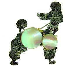 Vintage figural poodle dog Brooch with MOP disks