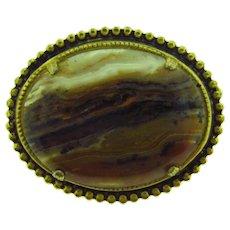 Vintage large oval banded agate Brooch