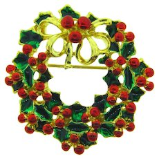 Vintage Christmas Wreath Brooch with green and red enamel