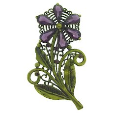 Vintage large floral Brooch with purple paste stones