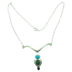 Marked Sterling silver pendant necklace with turquoise, malachite and onyx stones