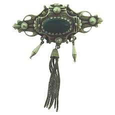 Vintage Etruscan design silver tone Brooch with chrysoprase stone