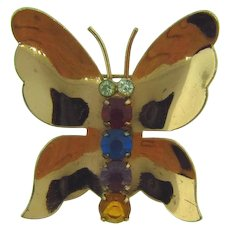 Signed Coro sterling vermeil figural butterfly Brooch with rhinestone body