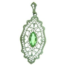 Marked sterling silver filigree Pendant with green glass stone