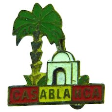 Vintage tiny souvenir lapel pin of Casablanca