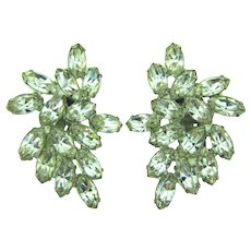 Signed Weiss large clip back crystal rhinestone Earrings