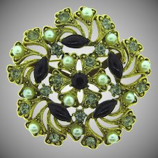 Signed Weiss large circular Brooch with smoky rhinestones, imitation pearls and black opaque stones