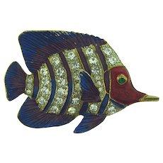 Vintage large figural tropical fish Brooch with crystal rhinestones and enamel