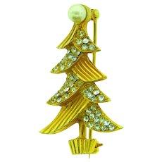 Vintage figural small Christmas tree brooch with rhinestones and imitation pearls