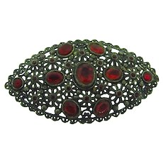 Signed New England Glassworks vintage large Brooch with red paste stones