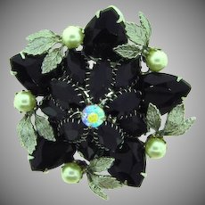 Vintage 1960's floral rhinestone Brooch with black stones, imitation pearls and silver tone leaves