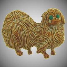 Signed Gerry's figural figural pekingese dog enamel Brooch