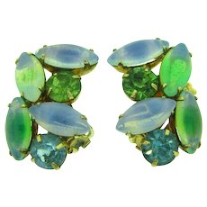 Vintage rhinestone clip back Earrings in green shades