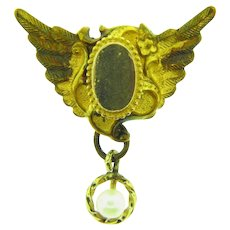 Vintage gold filled Watch Pin with wings and pearl drop