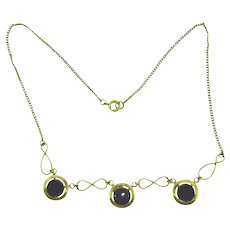 Vintage choker length gold filled Necklace with onyx circles