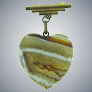 Gorgeous early large banded agate heart shaped pendant Brooch