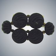 Victorian crepe stone mourning Brooch