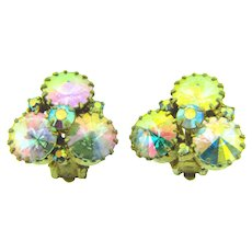 Vintage 1960's rivoli AB rhinestone clip back Earrings