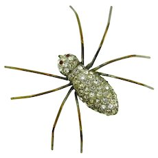 Vintage large figural spider Brooch with crystal rhinestones