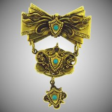 Vintage gold tone dangling Brooch with turquoise glass beads