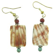 Vintage Boho bead and shell pierced Earrings