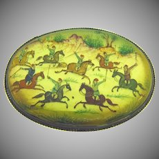 Vintage hand painted Persian brooch with a polo scene