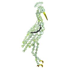Vintage long figural bird Brooch with rhinestones and enamel