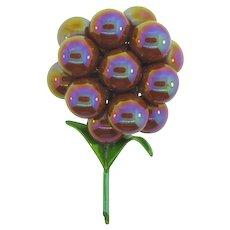 Vintage 1960's enamel metal flower Brooch