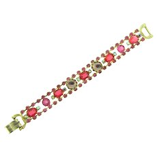 Vintage pink rhinestone 1960's Bracelet
